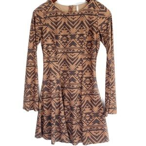 Tribal print tan long sleeve dress S